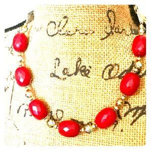 Red Gemstone Statement Necklace 💎💎💎
